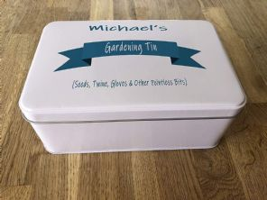 PERSONALISED GARDENING TIN ~ SHED ~ GARAGE ~ TOOLS Tin Present ANY NAME GARDEN